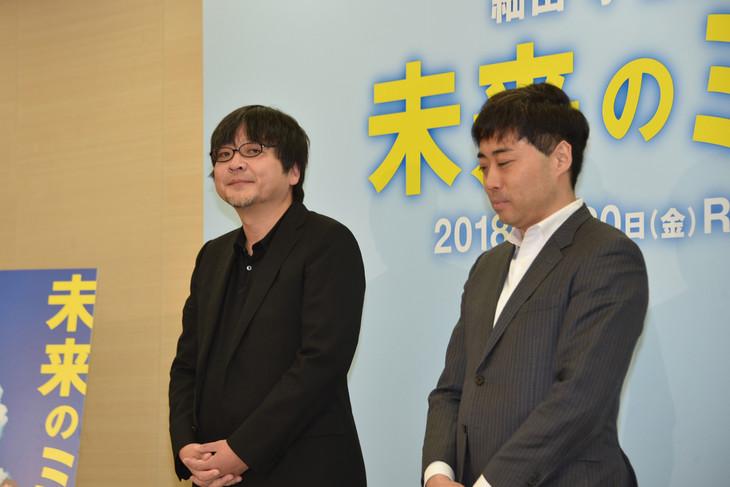 左から細田守、スタジオ地図のプロデューサー・齋藤優一郎。