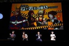 ジャンプフェスタ2018でのステージイベントの様子。左から増田俊樹、岡本信彦、三宅健太、佐倉綾音。
