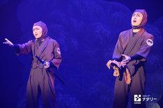 「ミュージカル『忍たま乱太郎』第9弾~忍術学園陥落!夢のまた夢!?~」公開ゲネプロより。左から東将司演じるドクササコのすご腕忍者の部下(ドす部下)、藤田遼平演じるドクササコのすご腕忍者。