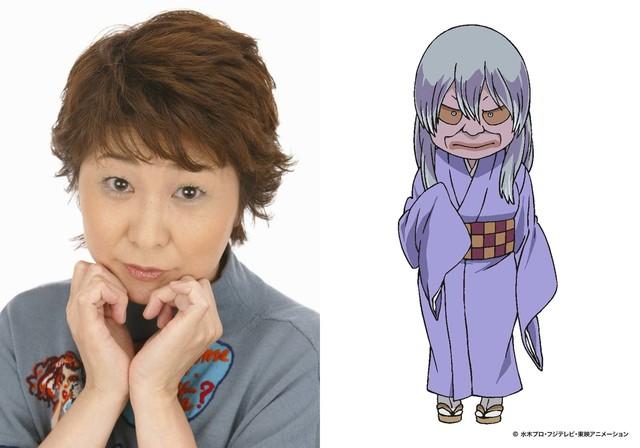 左から田中真弓、砂かけばばあのキャラクター設定画。