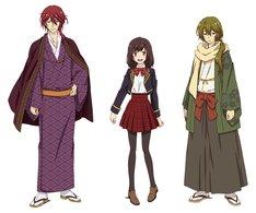 テレビアニメ「明治東亰恋伽」のキャラクターデザイン。左から森鴎外、綾月芽衣、菱田春草。
