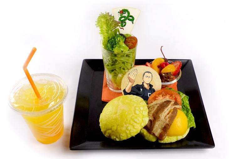 「田中龍之介のメロンパンバーガープレート(オレンジジュース付)」