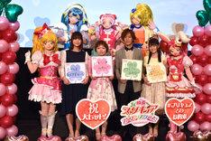 「映画プリキュアスーパースターズ!」初日舞台挨拶の様子。前列左から本泉莉奈、引坂理絵、小野賢章、小倉唯。