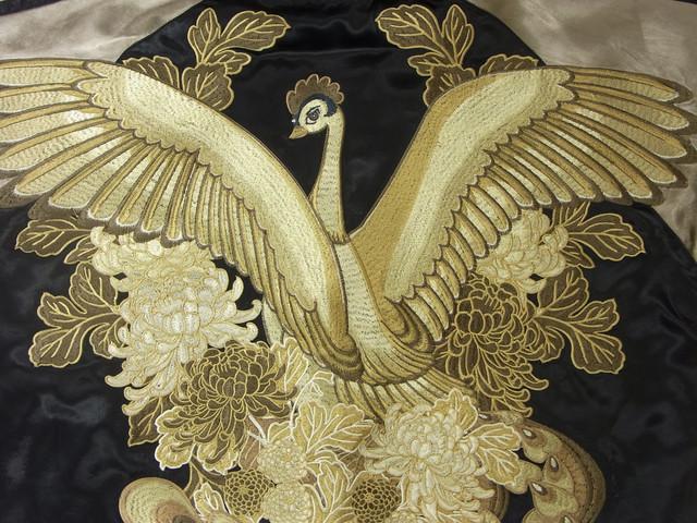 スカジャン「火の鳥と菊花」モノクロ