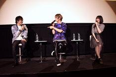 左から筒井光役の上西哲平、伊東悠人役の蒼井翔太、綾戸純恵役の上田麗奈。