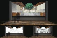 「未来のミライ展~時を越える細田守の世界『時をかける少女』『サマーウォーズ』『おおかみこどもの雨と雪』『バケモノの子』」の展示イメージ。