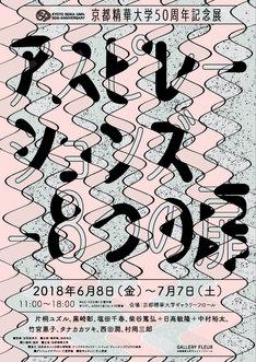 「京都精華大学50周年記念展『アスピレーションズー8つの扉』」チラシ表面