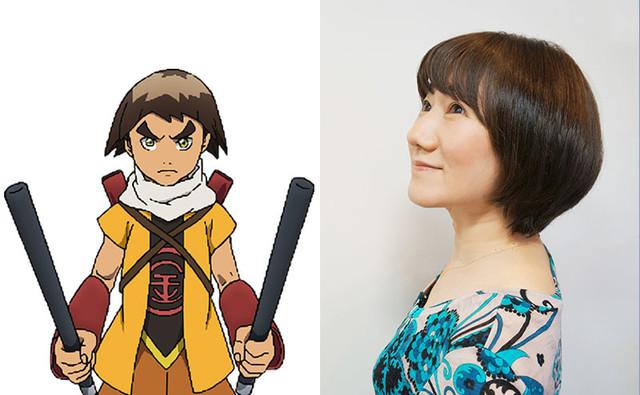 金時のキャラクタービジュアルと矢島晶子。