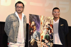 テレビアニメ「僕のヒーローアカデミア」イベントの様子。左から大塚明夫、三宅健太。