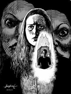 伊藤潤二が、映画「インサイド」に寄せた描き下ろしイラスト。