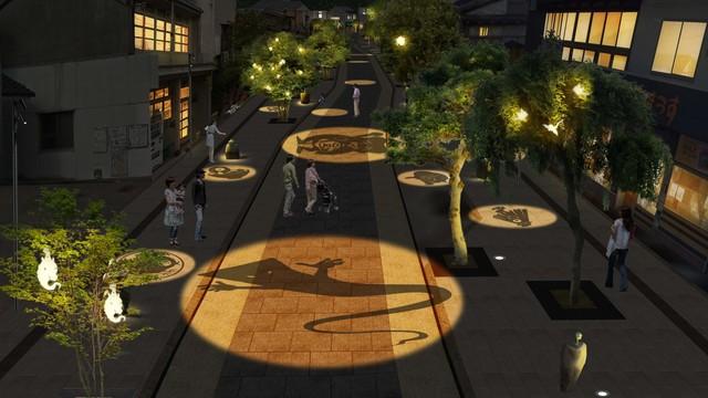 """""""水木しげるロード""""リニューアル後の夜間ライトアップ演出イメージ。"""