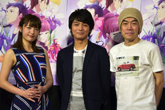 左から小松未可子、榎木淳弥、むらた雅彦監督。