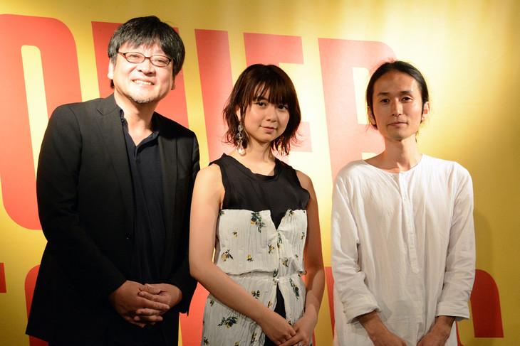左から細田守監督、上白石萌歌、高木正勝。