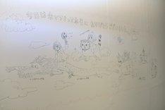羽海野チカの手描き壁面イラスト。