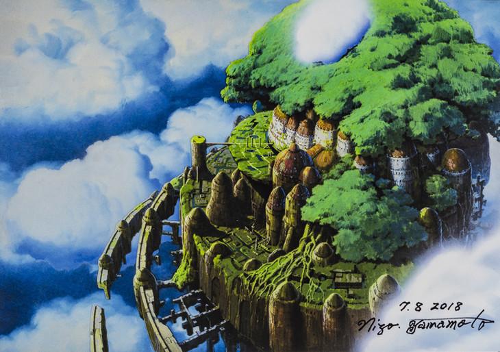 映画「天空の城ラピュタ」の劇中シーン「漂うラピュタ」の複製画。