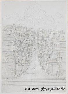 映画「時をかける少女」の設定画「踏切」の複製画。