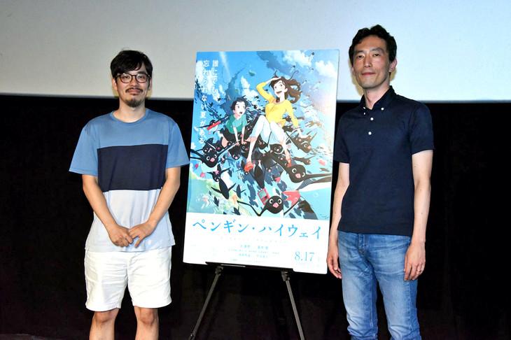 劇場アニメ「ペンギン・ハイウェイ」のティーチイン付き上映会の様子。左から監督の石田祐康、原作者の森見登美彦。