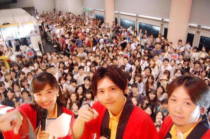 イベントの様子。左から澤口アナウンサー、梶裕貴、永井プロデューサー。
