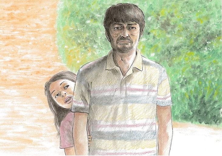 新井英樹が描き下ろした映画「愛しのアイリーン」の一場面。