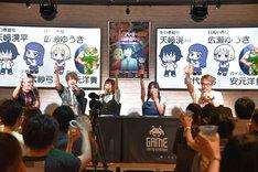TVアニメ「ハイスコアガール」トークショーの様子。左からプロデューサーの鶴岡信哉、天崎滉平、鈴代紗弓、広瀬ゆうき、安元洋貴。