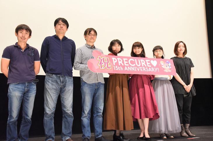 左から柴田宏明、佐藤雅将、古賀豪、生天目仁美、中島愛、嶋村侑、神木優。
