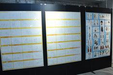 アニメの原画、キャラクター設定画の展示。