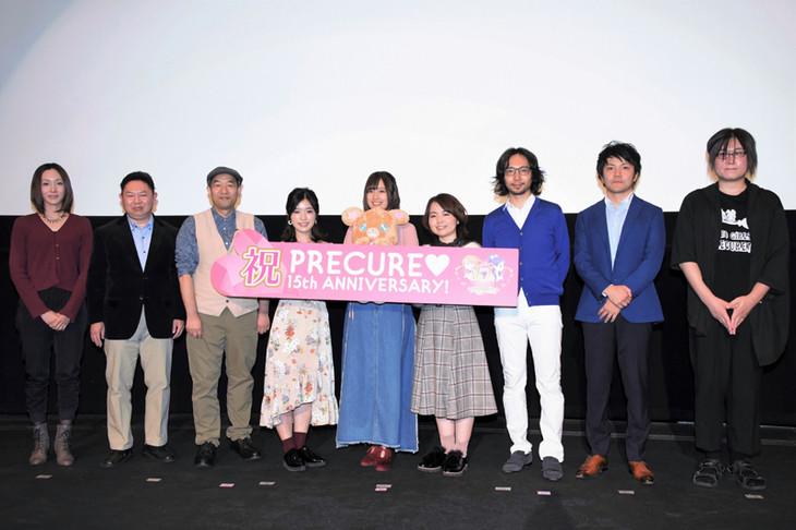 左から神木優、暮田公平、貝澤幸男、美山加恋、高橋李依、引坂理絵、座古明史、内藤圭祐、三塚雅人。