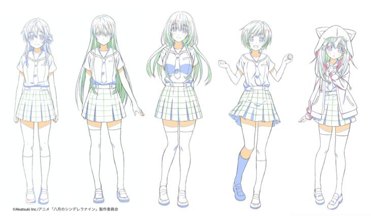 TVアニメ「八月のシンデレラナイン」のキャラクターデザイン画。左から有原翼、東雲龍、野崎夕姫、河北智恵、宇喜多茜。