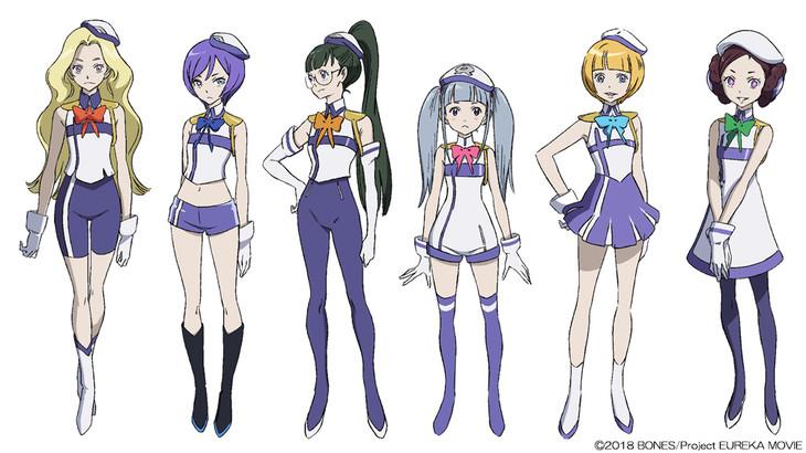"""""""スーパー6""""の少女たち。左からレッド・ツゥ、エクス・トラ、末野・ラ・ティーノ、キラ・ポマト、チャイム、ラ・ラ・ランド。"""