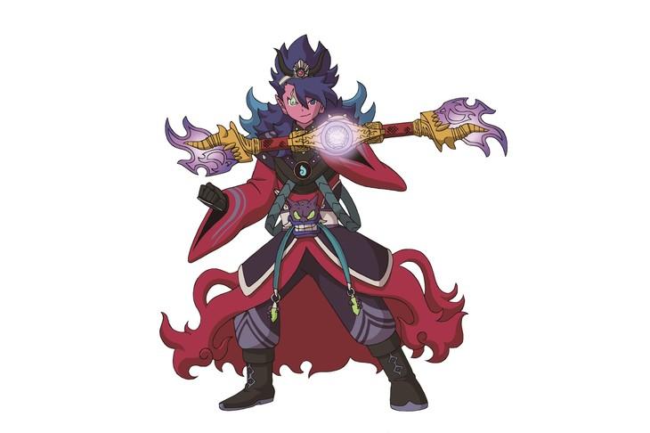 夜叉エンマは、神話に登場する鬼神「夜叉」の名を冠するエンマ。最強の武器・炎魔棍を手にする。通常の姿だけでなく、「氷の龍」と「炎の龍」を操る姿に変化するという。
