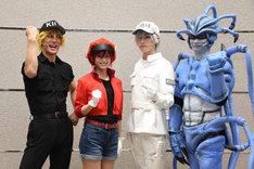 左からキラーT細胞役の君沢ユウキ、赤血球役の七木奏音、白血球(好中球)役の和田雅成、肺炎球菌役の馬場良馬。