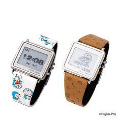 「ドラえもん Smart Canvas デジタル腕時計」。左から「ドラえもんがいっぱい柄」、「ひみつ道具モノグラム柄」。