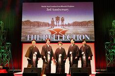 """「機動戦士ガンダム 鉄血のオルフェンズ 3rd Anniversary"""" THE REFLECTION""""」に登壇した(左から)内匠靖明、細谷佳正、河西健吾、梅原裕一郎、村田太志。"""