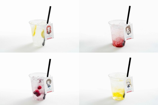 Image drink of teaise from the upper left, image drink of Sortilina, image drink of Ronier from the lower left, image drink of Alice.