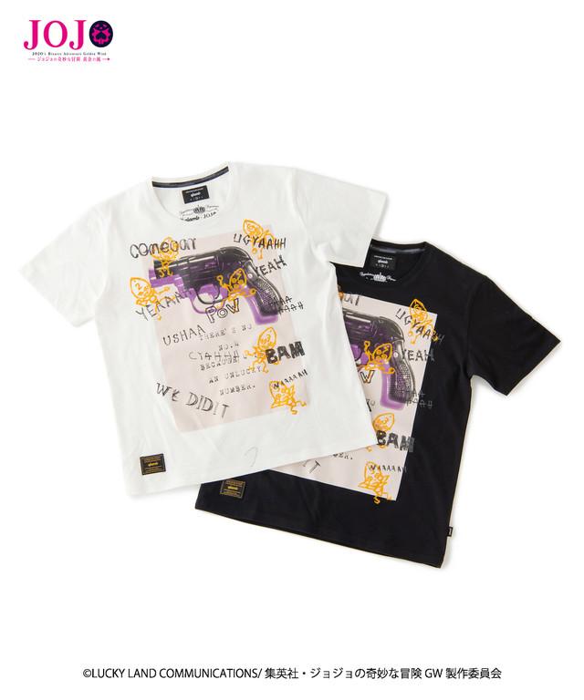 「ジョジョの奇妙な冒険 黄金の風」をモチーフにしたTシャツ。