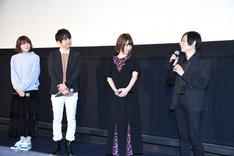 「あした世界が終わるとしても」完成披露上映会の様子。左から千本木彩花、梶裕貴、内田真礼、櫻木優平。