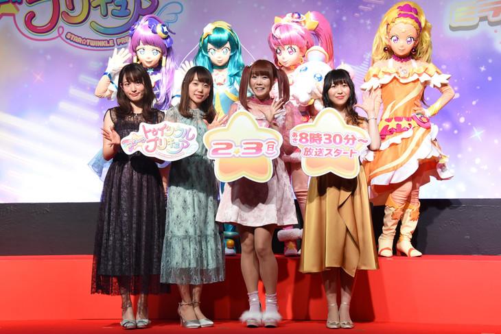 上段左からキュアセレーネ、キュアミルキー、キュアスター、キュアソレイユ、下段左から小松未可子、小原好美、成瀬瑛美、安野希世乃。