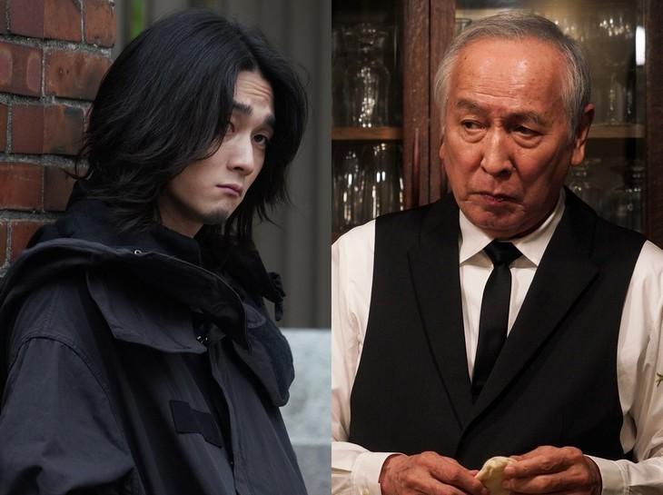 左から柳俊太郎演じる四方蓮示、村井國夫演じる芳村功善。