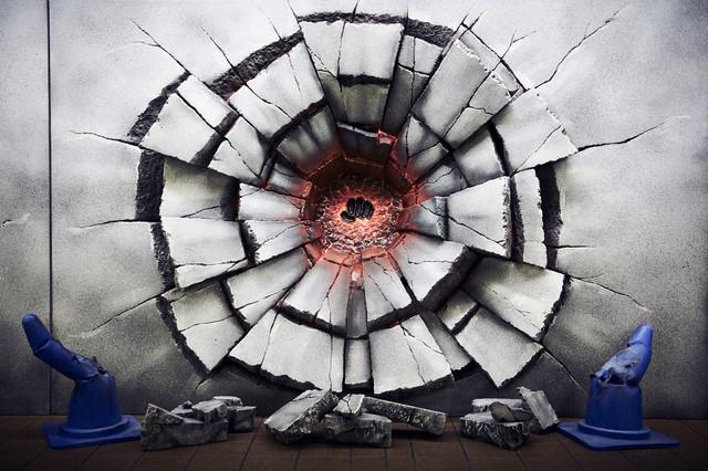 ルフィの「ゴムゴムの火拳銃」の痕跡を再現したグラフィック。