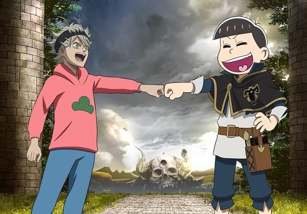 「えいがのおそ松さん」とTVアニメ「ブラッククローバー」のコラボビジュアル。