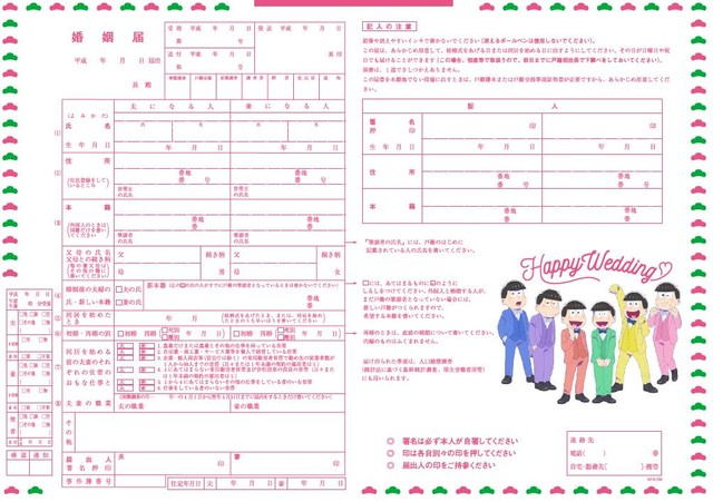 ゼクシィ5月号に付属する「おそ松さん」の婚姻届。