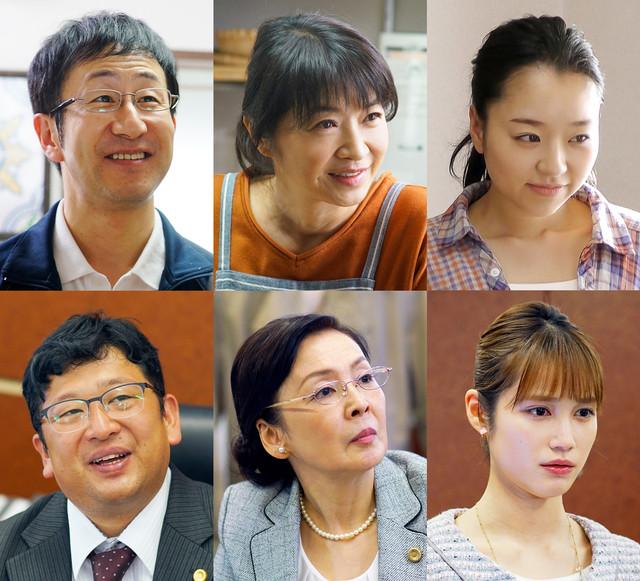 TVドラマ「きのう何食べた?」追加キャスト第1弾。上段左から矢柴俊博、田中美佐子、真凛。下段左からチャンカワイ、高泉淳子、中村ゆりか。