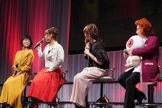 左から沢城みゆき、庄司宇芽香、藤井ゆきよ、野沢雅子。