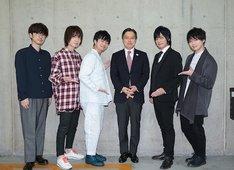 左から櫻井孝宏、前野智昭、福山潤、吉住健一新宿区長、遊佐浩二、土岐隼一。