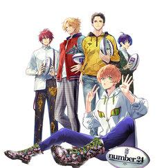 オリジナルアニメ「number24」ティザーイラスト。左奥から都留靖也、上丘伊吹、真行寺清一郎、真白優。手前は柚木夏紗。