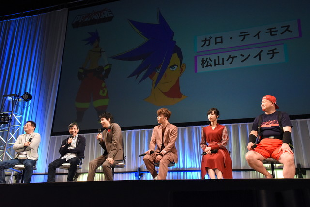左から今石洋之、中島かずき、松山ケンイチ、早乙女太一、佐倉綾音、稲田徹。