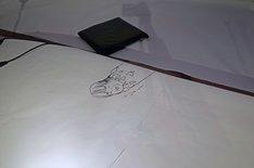 寺田の手元には、この日のトーク中に描いた祖父江の似顔絵が残されていた。