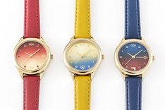 左から矢逆一稀モデル、陣内燕太モデル、久慈悠モデルの腕時計。