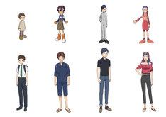 「デジモンアドベンチャー02」キャラクターの設定画。上段が子供時代、下段が成長した姿。