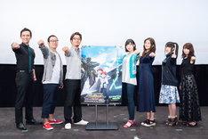 左からマックスウェル・パワーズ、板井寛樹監督、池添隆博総監督、佐倉綾音、沼倉愛美、村川梨衣、真堂圭。